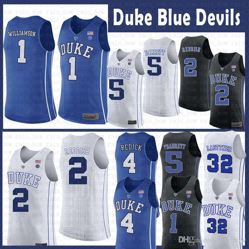 56111a2c4318 2019 Duke Blue Devils College 1 Zion Williamson Ncaa Basketball Jersey 2  Cameron Reddish 5 RJ Barrett 4 J.J. Redick 32 Christian Laettner Irving  From ...