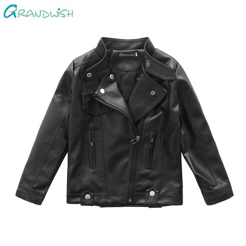 ffdadaa1b Grandwish Boys Autumn Leather Coat Children PU Leather Jacket Girls ...