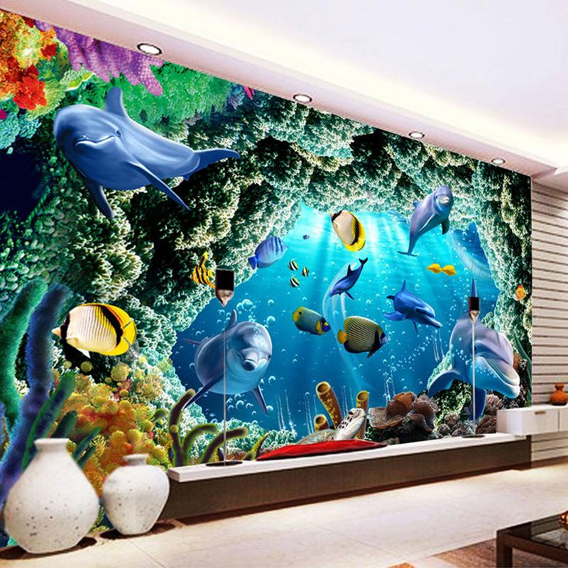 Custom 3d Photo Wallpaper For Kids Room Cartoon Underwater World Dolphin Wall Painting Living Room Bedroom Mural Wallpaper Decor
