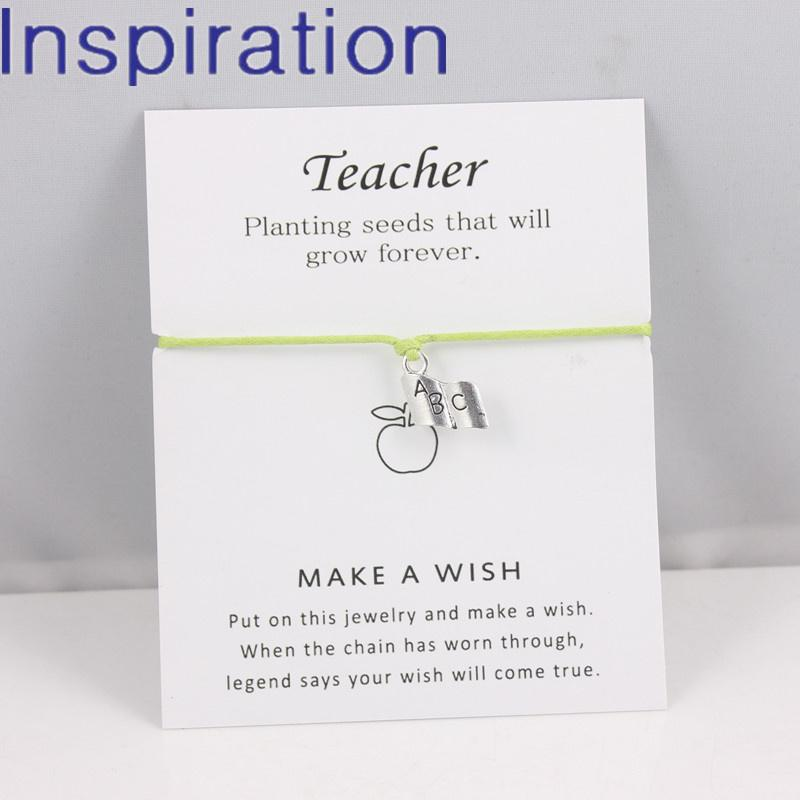 Single ABC Book Dangle Charm Bracelet Wish Card Bracelet For Teachers Engraved Mantra Charm Bracelet Teachers' Day Gift