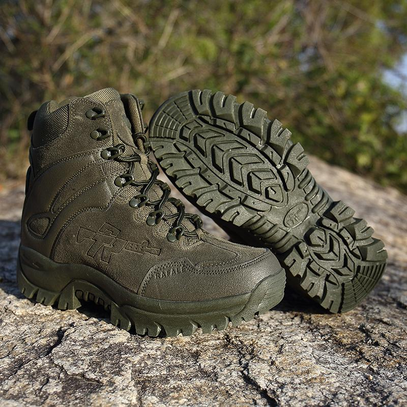 c66074daa88 Army Men Commando Combat Desert Outdoor Hiking Boots Landing Tactical  Military Shoes Men Military Leather Snow Boots XX-410