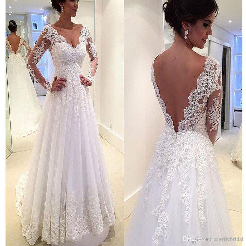 f83f44aed450 Discount V Neck Long Sleeves Open Back A Line Wedding Dresses Low Back With  Train Country Western Vintage Bridal Gowns Custom Made Couture Vintage  Wedding ...