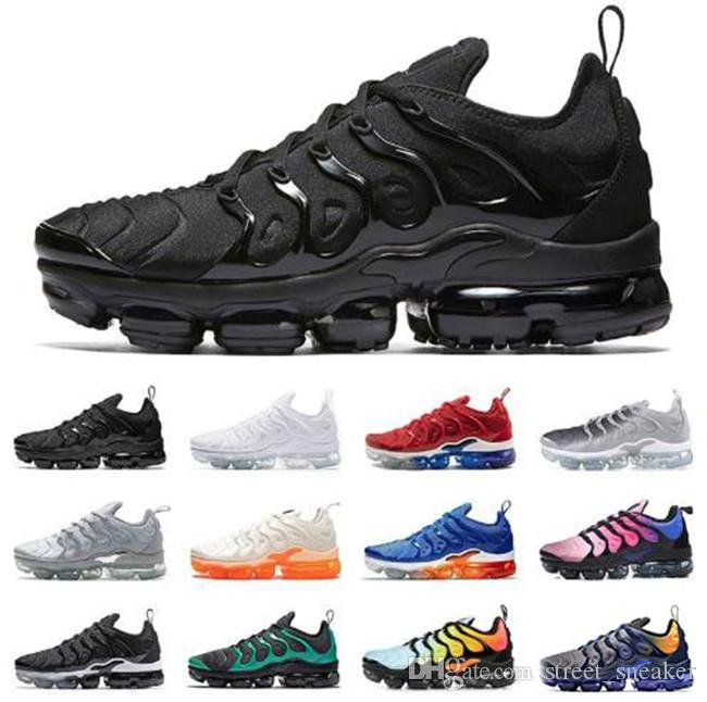 83d0055f41d8c Nike Air VaporMax Plus TN 2019 TN Plus Zapatillas Deportivas Para Hombre  Mujer Zapatillas PURE PLATINUM Triple Negro Blanco Aire Fresco Lobo Gris  Para ...