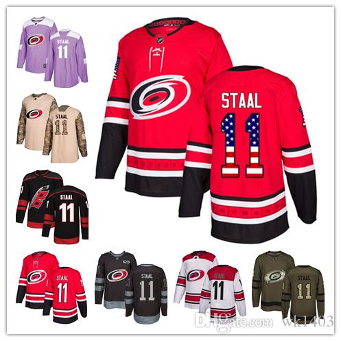 finest selection 49723 93226 Carolina Hurricanes jerseys #11 Jorda Staal Jersey hockey men women youth  Authentic Black Alternate red home white away Stiched Jerseys