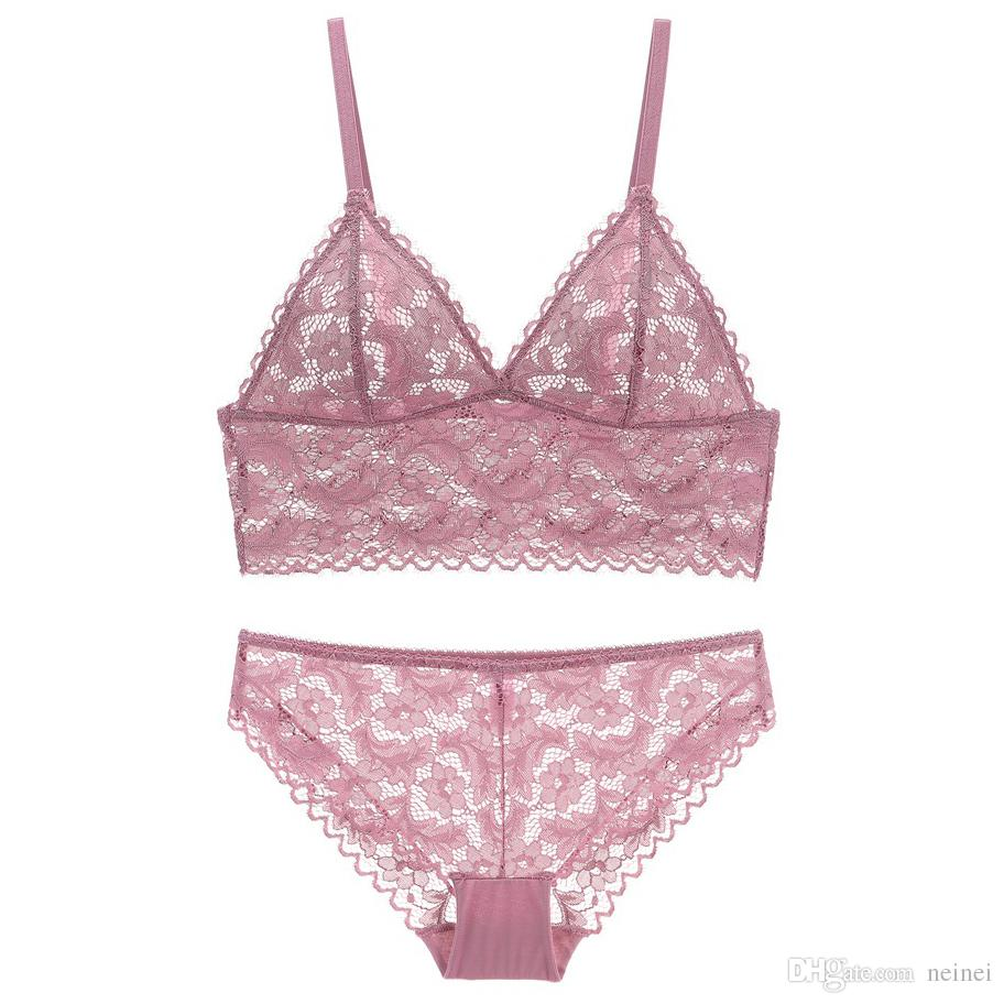 440bcab818426 Triangle Cup Full Lace Transparent Bralette Wireless Bra And Panty ...
