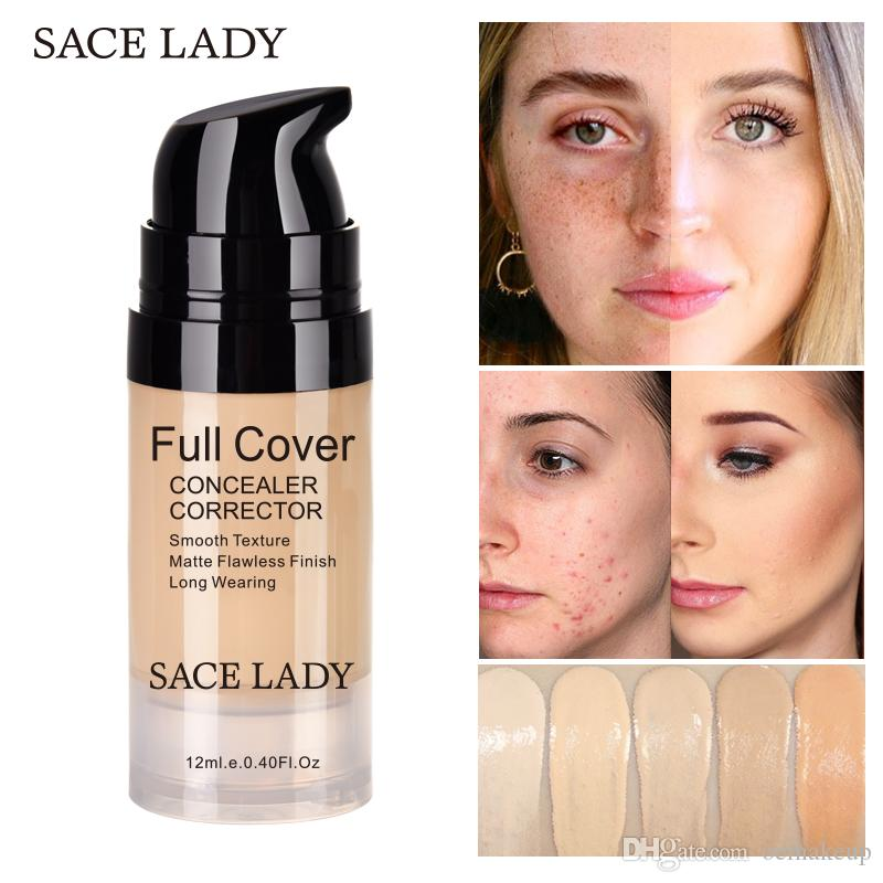 12ml SACE LADY Full Cover 5 Colors Liquid Concealer Makeup Eye Dark Circles Cream Face Corrector Waterproof Make Up Base Cosmetic