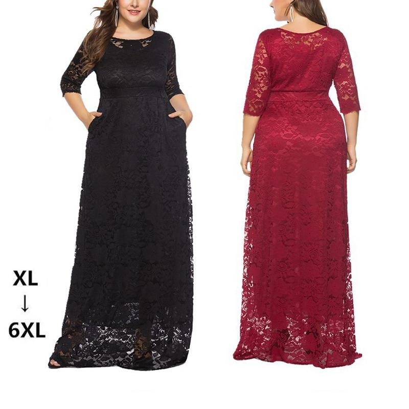 8d98e6683d Hot Sell New Womens Ladies 3/4 Sleeve Lace Hollow Evening Party Maxi Dress  Cocktail Gown Plus Size XL-6XL