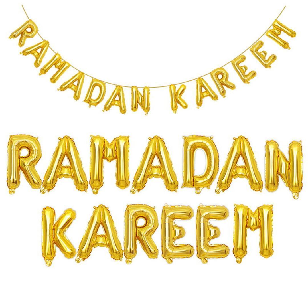 992d45503b9c Compre 16    Foil Globos Banner Cadena Eid Ramadán Mubarak Letra Kareem  Decoración Del Partido De Plata Oro Brillante Color Autoinflable A  34.12  Del ...