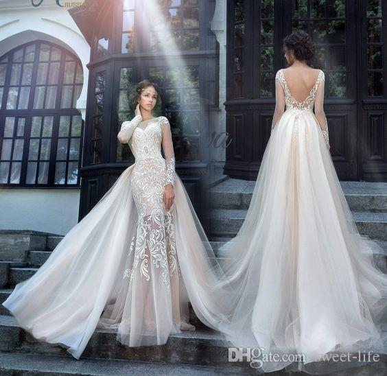 92c4d9d6c00 2019 Gorgeous Elegant Milva Bridal Party Dresses Tiered Illusion Long  Sleeves V Back Lace Sheath Wedding Dress with Detachable Skirt Wedding  Dresses Bride ...