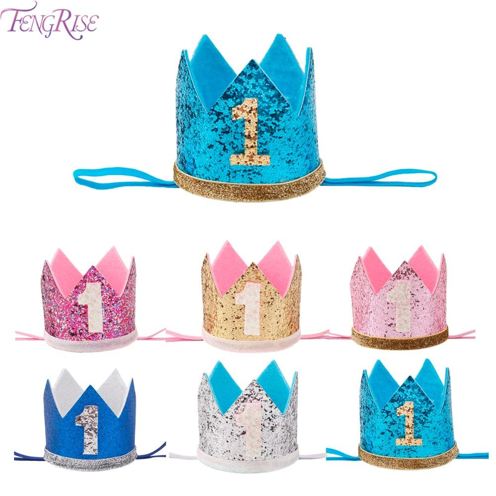 FENGRISE My First Birthday Party Hats Princess Crown Boy Girl I AM ONE Happy 1st Decorations Kids Anniversary Items