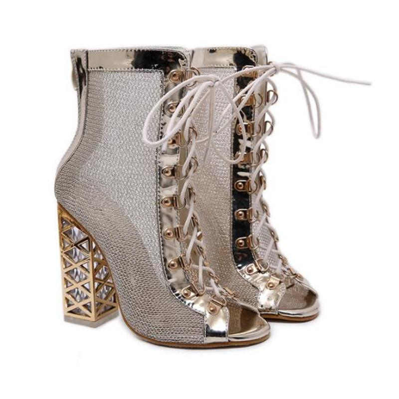 bc4b886a8a8e Lace Up Crystal Chunky Heel Sandals 2019 New Summer Sexy Golden Bling  Gladiator Sandals Women High Heels Open Toe Hollow Sandals Boots Gladiator  Sandals ...
