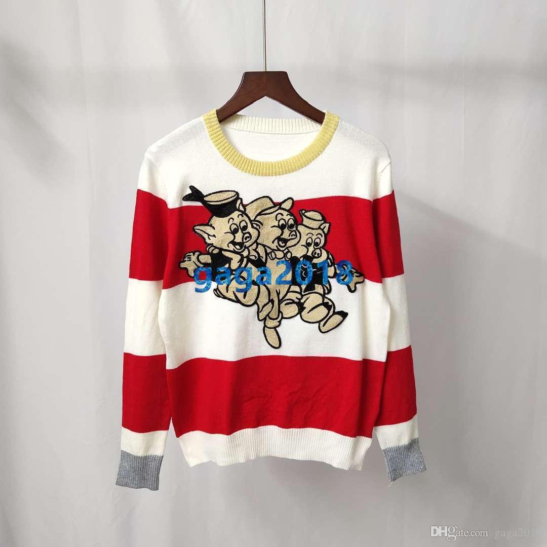 81e4d17d4 2019 Women GIRLS Long Sleeve Sweater With Stripes CREW NECK ...