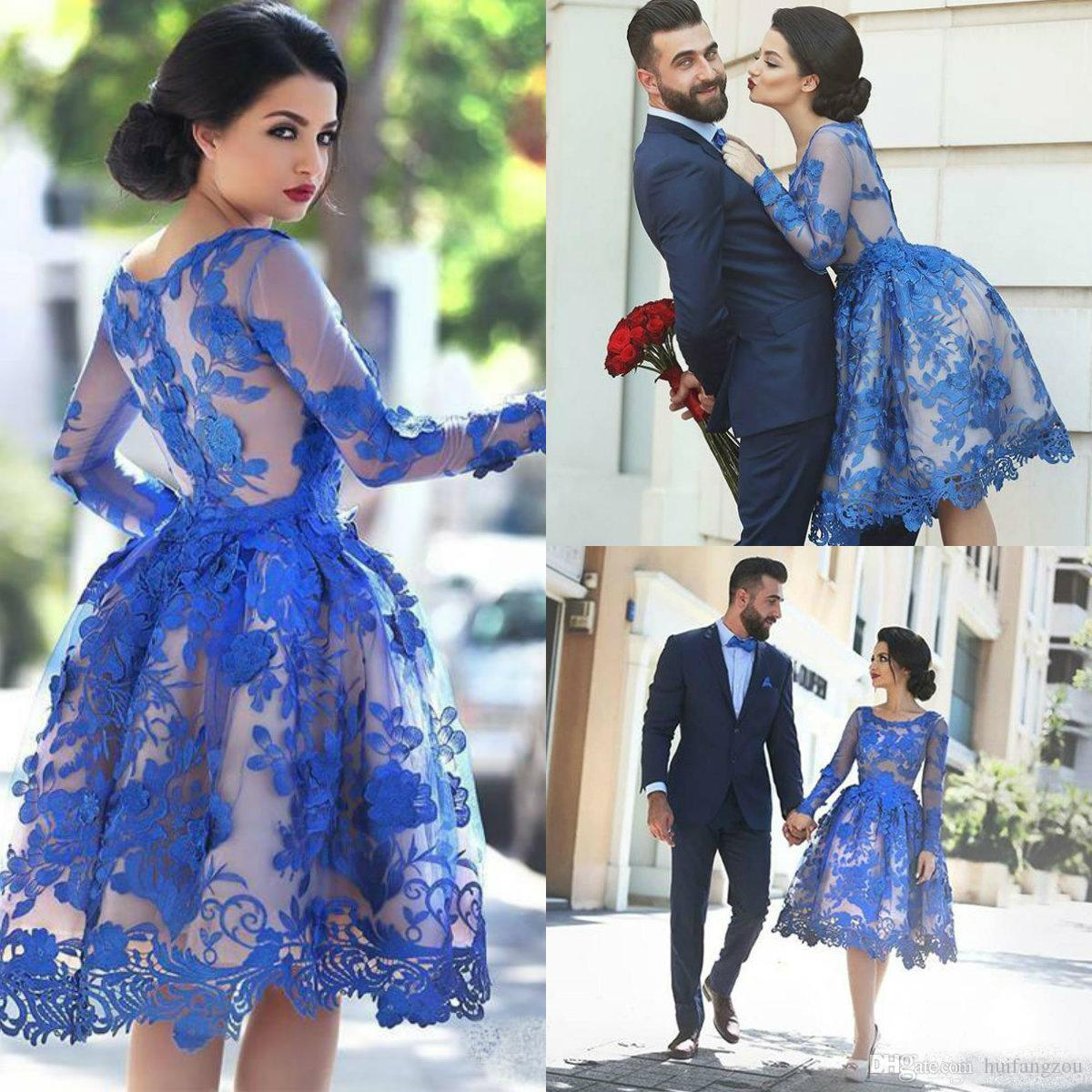 de064c7ca1f 2019 Royal Blue Lace Applique Short Prom Dresses Illusion Long Sleeve  Cocktail Party Dresses Knee Length Homecoming Prom Gowns Vestidos Prom  Dresses Online ...