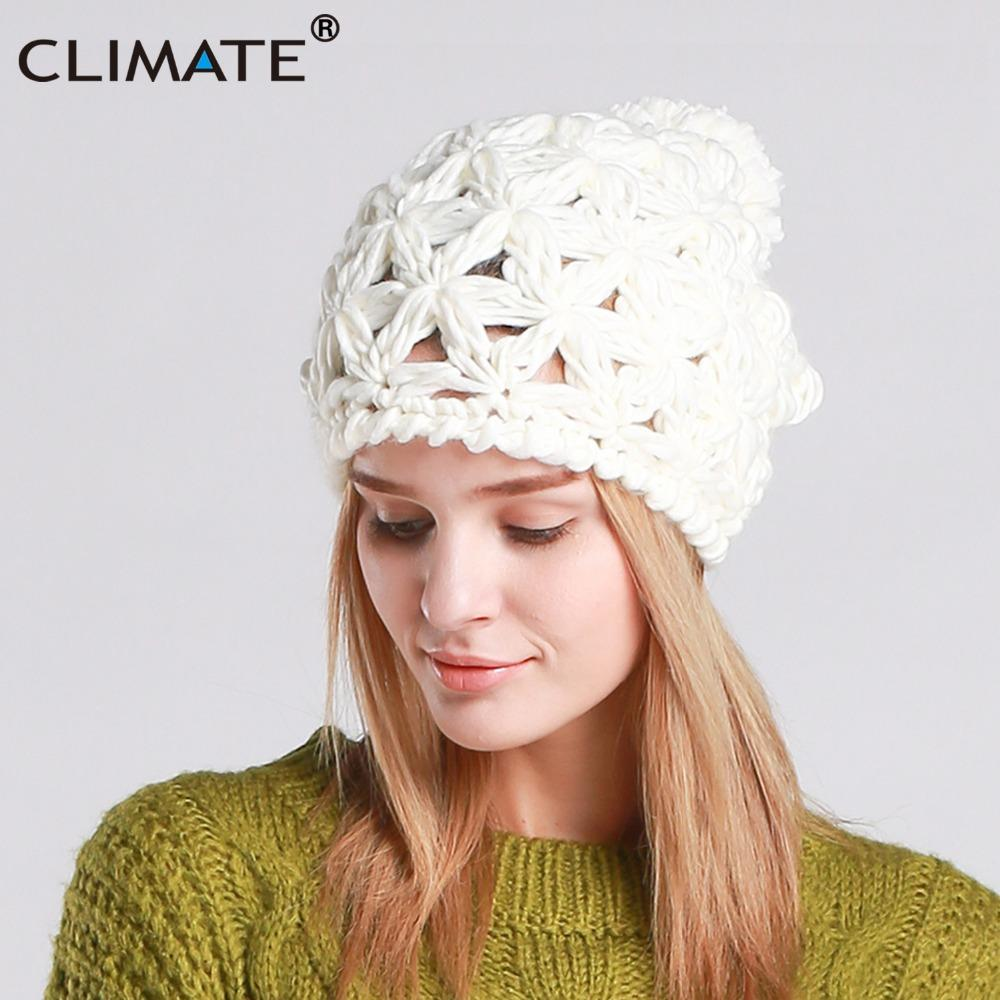 9115fa1b61e CLIMATE New Women Winter Hat Warm Pompon Beanie Hat Pierced Knitted Beanie  Women Nice Pompon Warm For Girls Beanie Boo Trucker Hats From Clintcapela