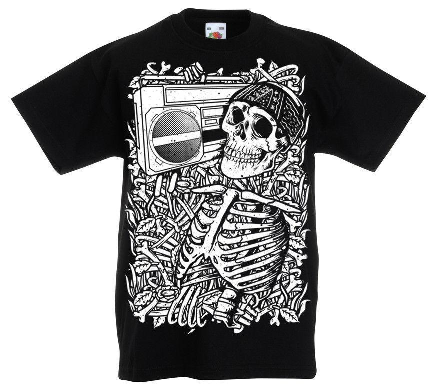 Skeleton Boombox T Shirt Kids Age 5 13 Year Old Boys Skull Rock Gift