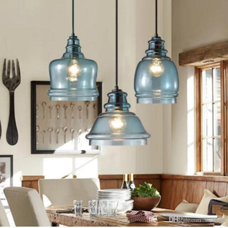 moderne blaue Glas Kronleuchter einfache Persönlichkeit kreative Bar  Restaurant Wohnzimmer Esszimmer kleine Hängeleuchte