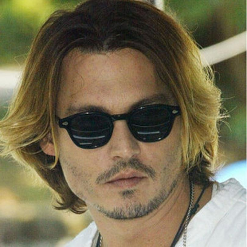high quality black frame grey lens men sunglasses. vintage johnny depp sunglasses