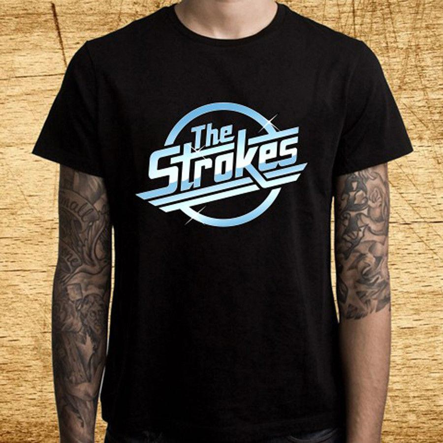 182e3c56 New THE STROKES Rock Band Logo Men's Black T-Shirt Size S-3XL Cool Casual  pride t shirt men Unisex New Fashion tshirt