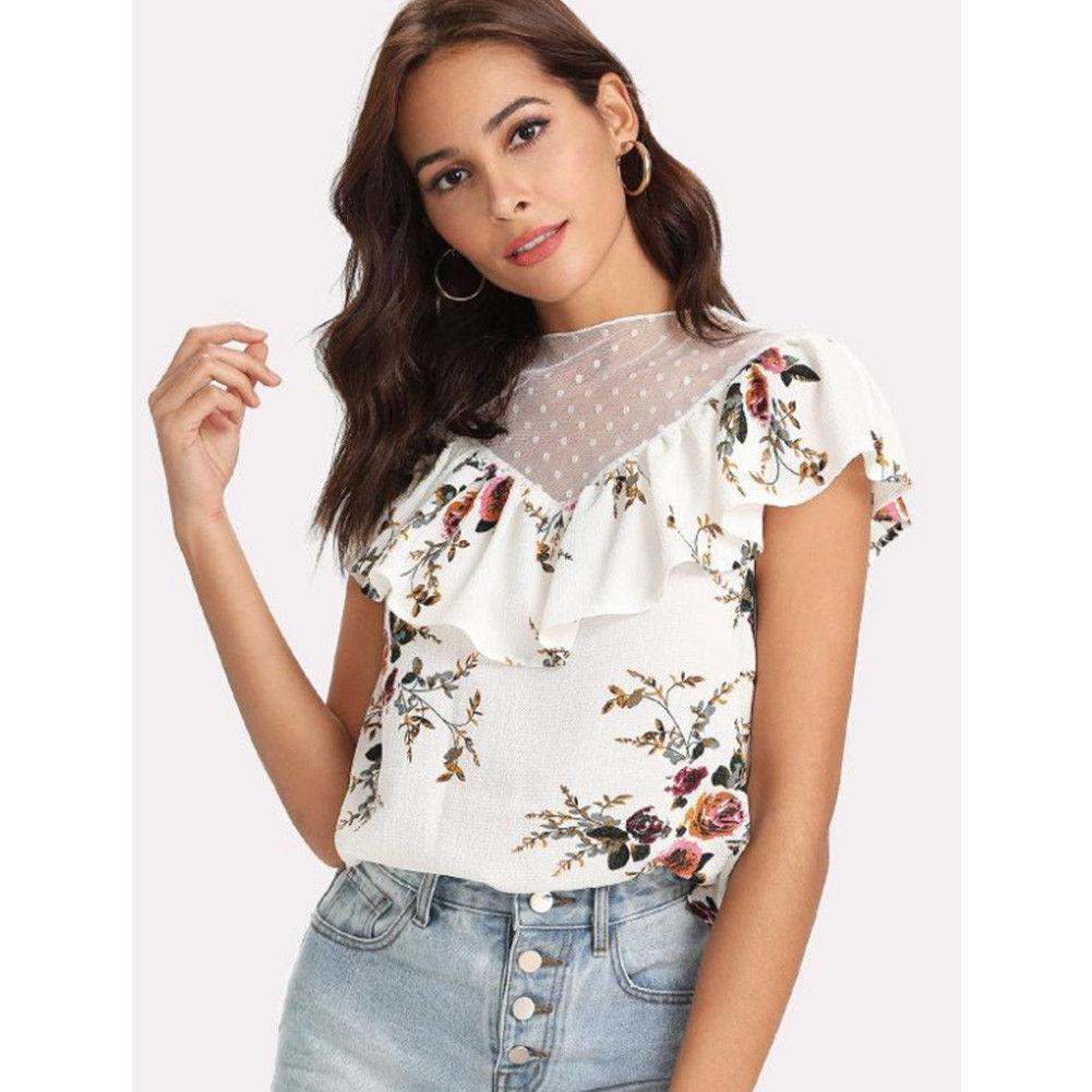 2019 Women Ladies Summer Blouses Ruffles Loose Tops Short Sleeve