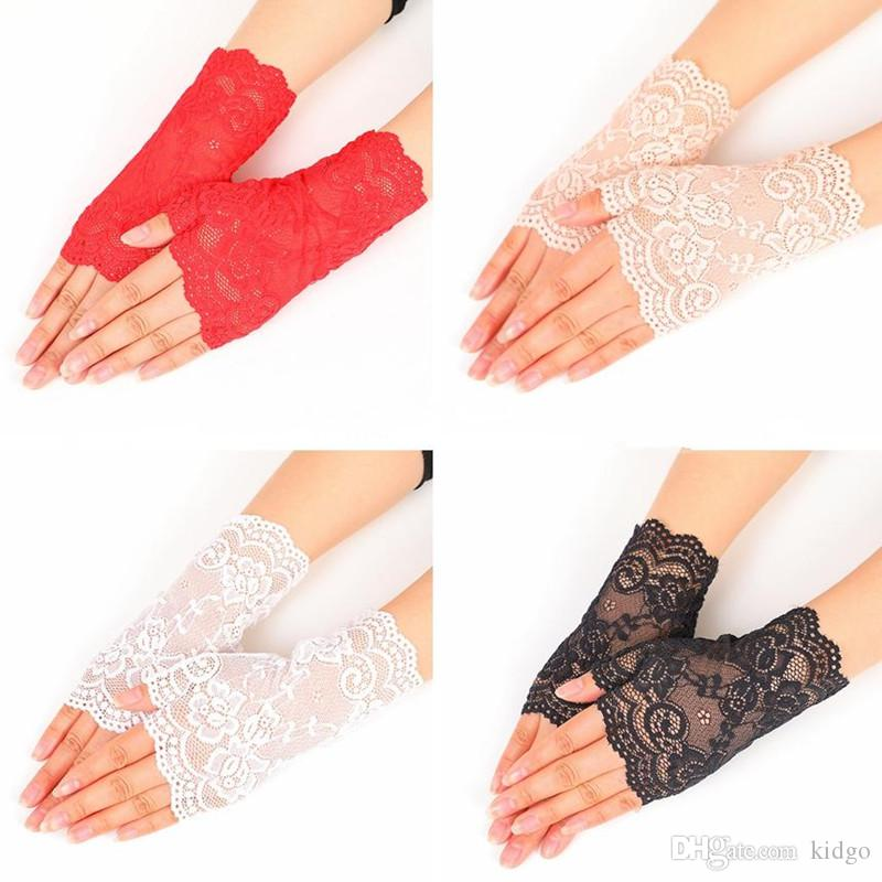 Womens UV Protection Long Lace//Solid Colored Fingerless Gloves