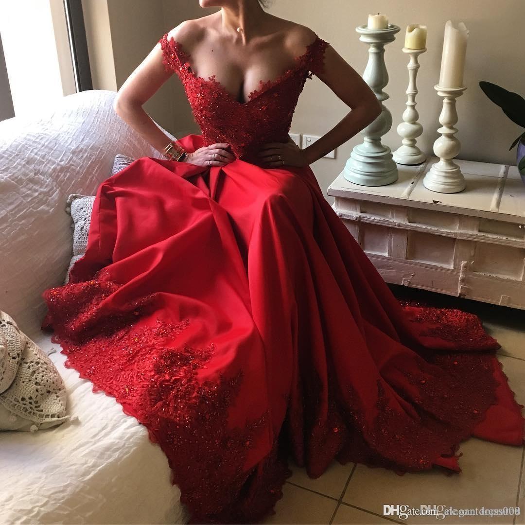 6333752f24fe New A Line Evening Dresses Red Lace Off Shoulder Sleeveless Sequins Beaded  Applique Floor Length Long Formal Party Gowns Custom Made Formal Dresses  Online ...