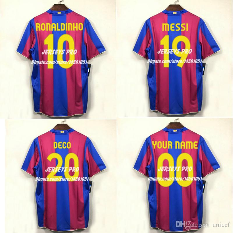 low priced 0e0de f6682 Camiseta de futbol Lionel Messi Ronaldinho 2007 2008 Number 19 Camp Nou 50  anniversary retro Soccer Jerseys Football Shirts kit Maillot Deco