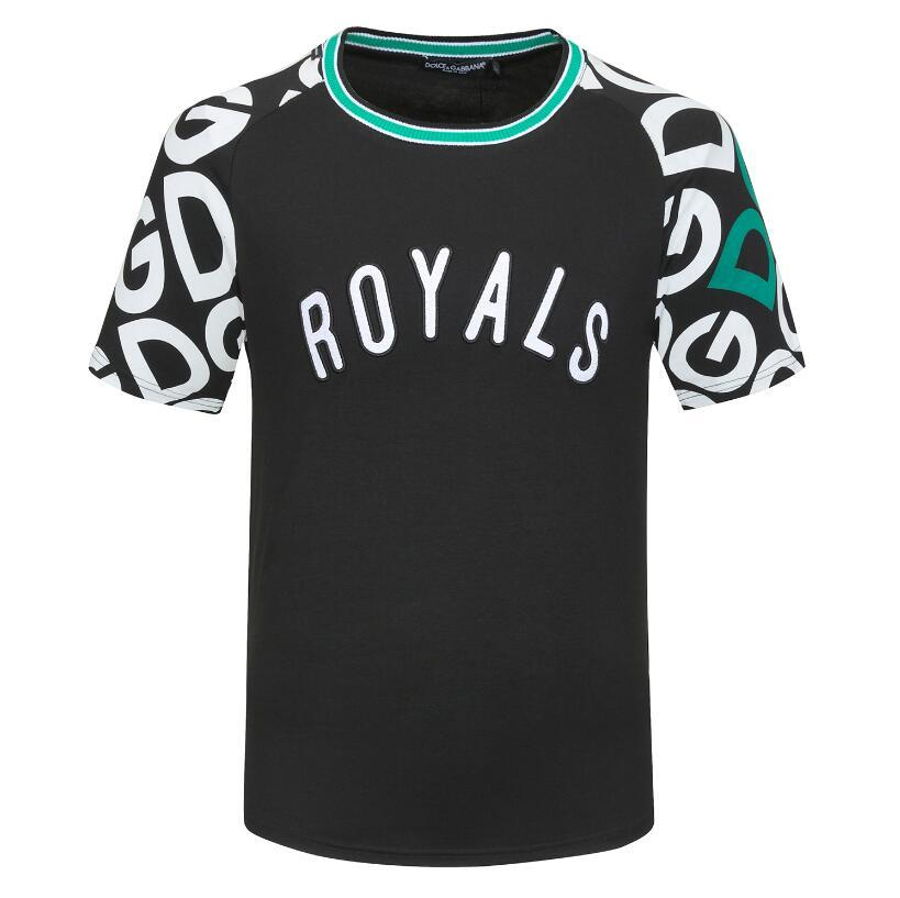 NEW Fashion ROYALS Pattern Short Sleeve T-Shirts Men Luxury Brand Tshirt Mens Summer Streetwear Crew Neck Tee Casual Cotton tees shirt