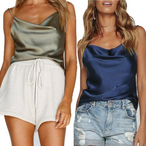 4068cec9ab6 2019 Summer Women Ladies Solid Brief Silk Satin Plain Sleeveless Strappy Cami  Camisole Vest Tank Tops From Bida Jany, $62.5   DHgate.Com