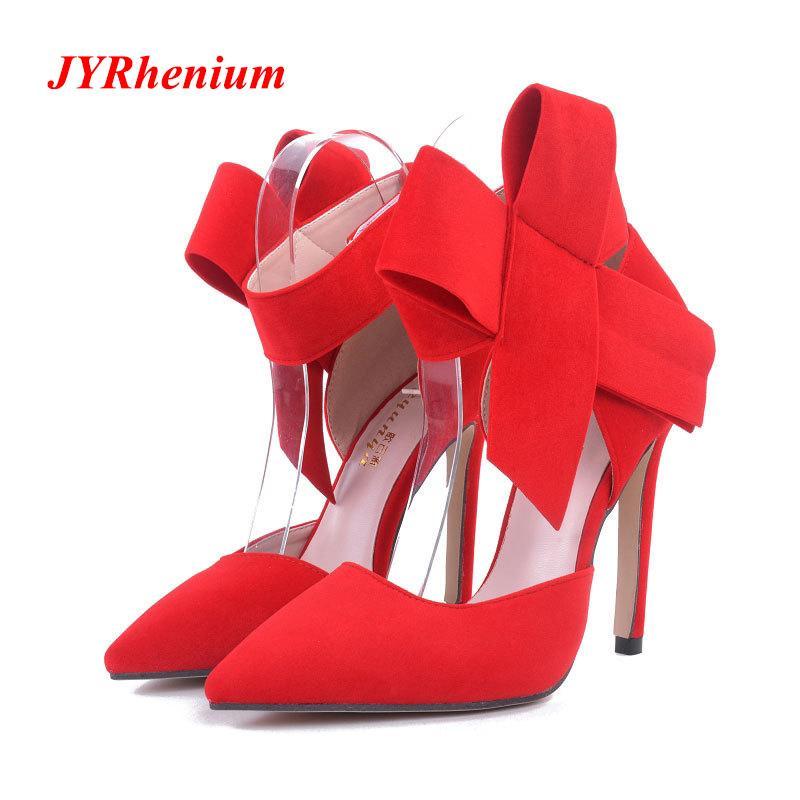 e78da0717 Compre 2019 Vestido JYRhenium 2018 Plus Size 35 41 Moda Delicado Doce Arco  Nó Sapatos De Salto Alto Lado Oco Apontou Mulheres Bombas Vestido De Festa  Saltos ...