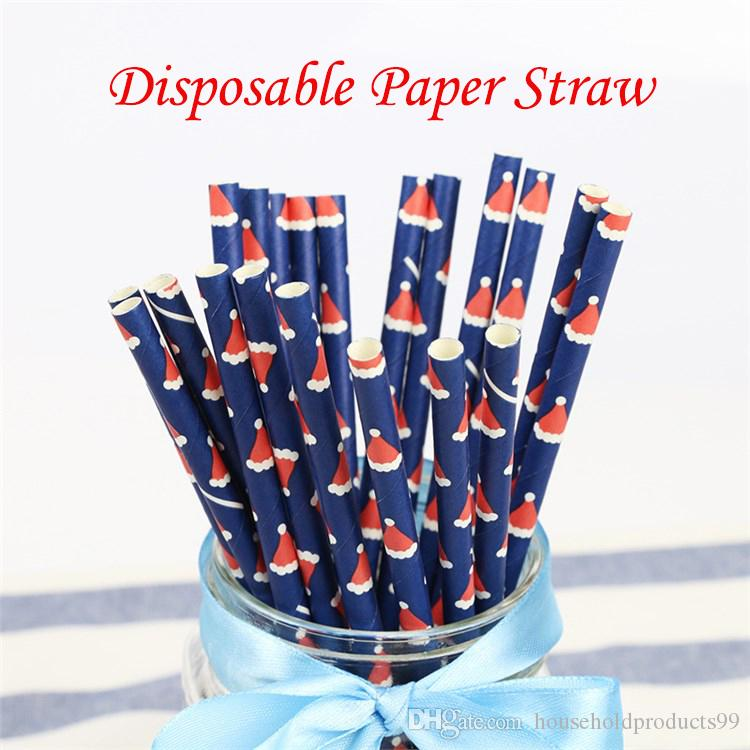 Eco-friendly Disposable Paper Straws Jungle Birthday Holiday Drinking Straws Supplies Decoration Drinking Kraft Straws for Christmas Party