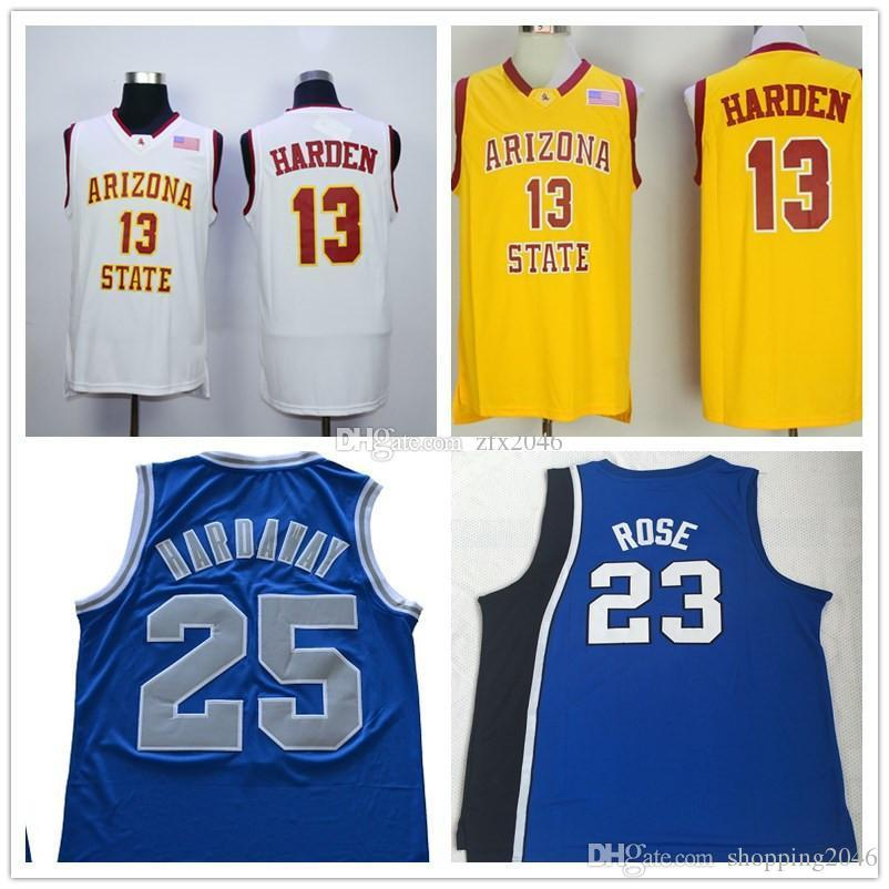 best sneakers b6dd5 db9c2 NCAA #13 James Harden Arizona State Sun Devils #25 Penny Hardaway Memphis  State Tigers #23 Derrick Rose College Basketball jerseys Stitched