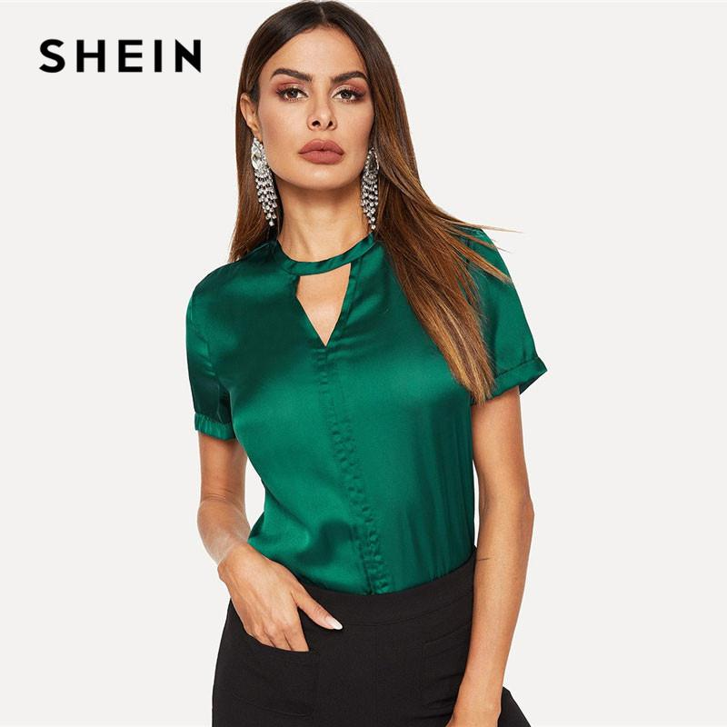 25e5349bc1 2019 SHEIN Green Keyhole Back V Cut Out Neck Satin Glamorous Women ...