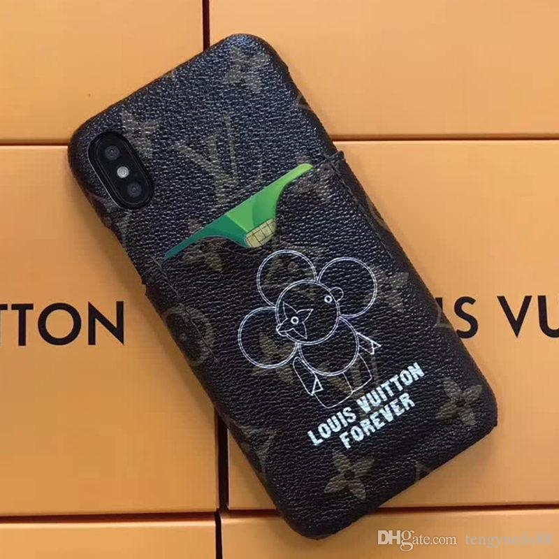 luxury brand sunflower robot pattern printing insert card phone caseluxury brand sunflower robot pattern printing insert card phone case for iphone x xs xr xs max 6 6s 7 8 7 8plus leather hard case phones cases silicone