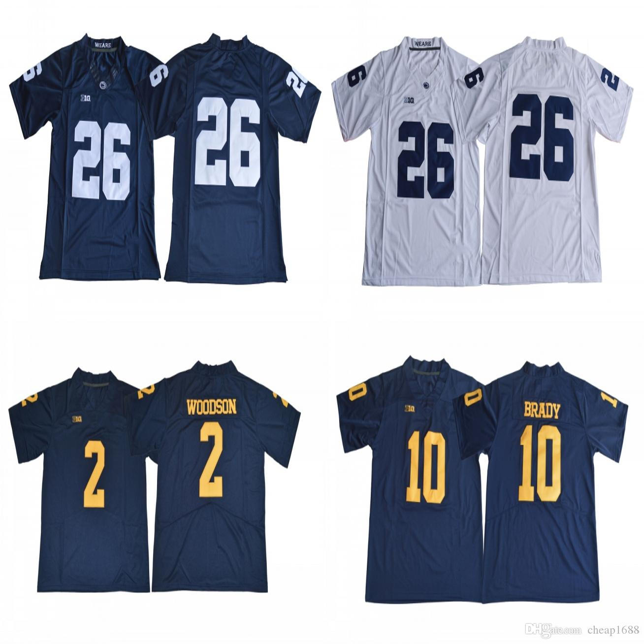 lowest price 31567 aab61 Penn State Nittany Lions #26 Saquon Barkley Blue White Jersey Michigan  Wolverines #2 Charles Woodson #10 Tom Brady Navy Blue Jerseys