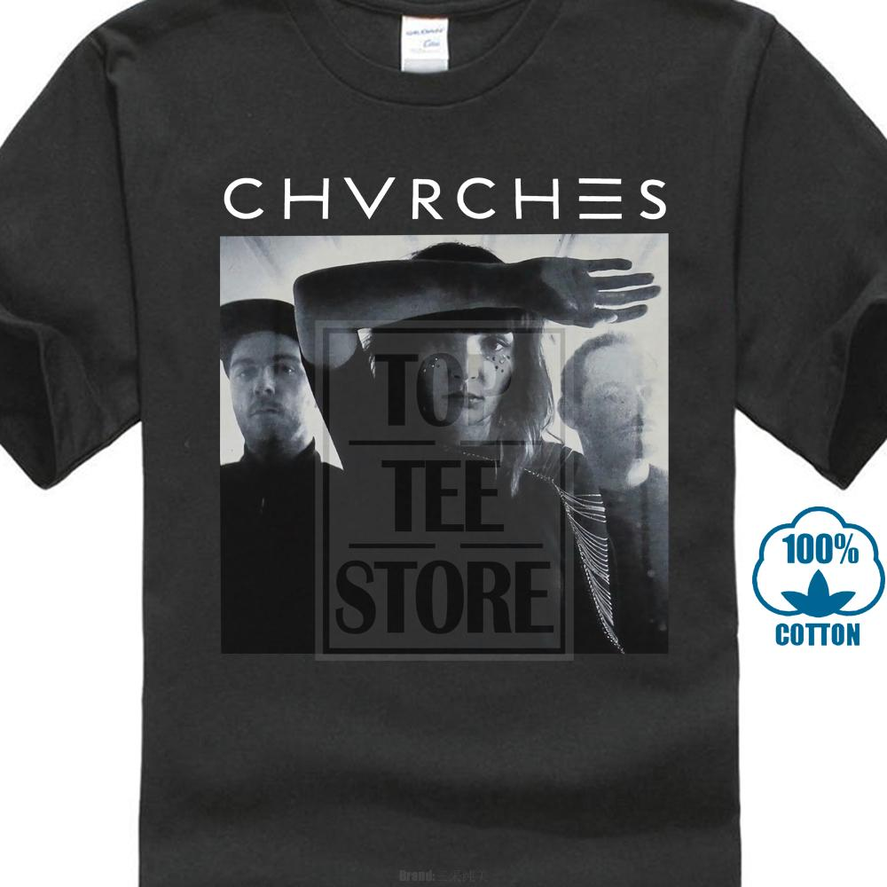 Chvrches Mens T Shirt Shadow Drenched B & W Photo Under Band Name