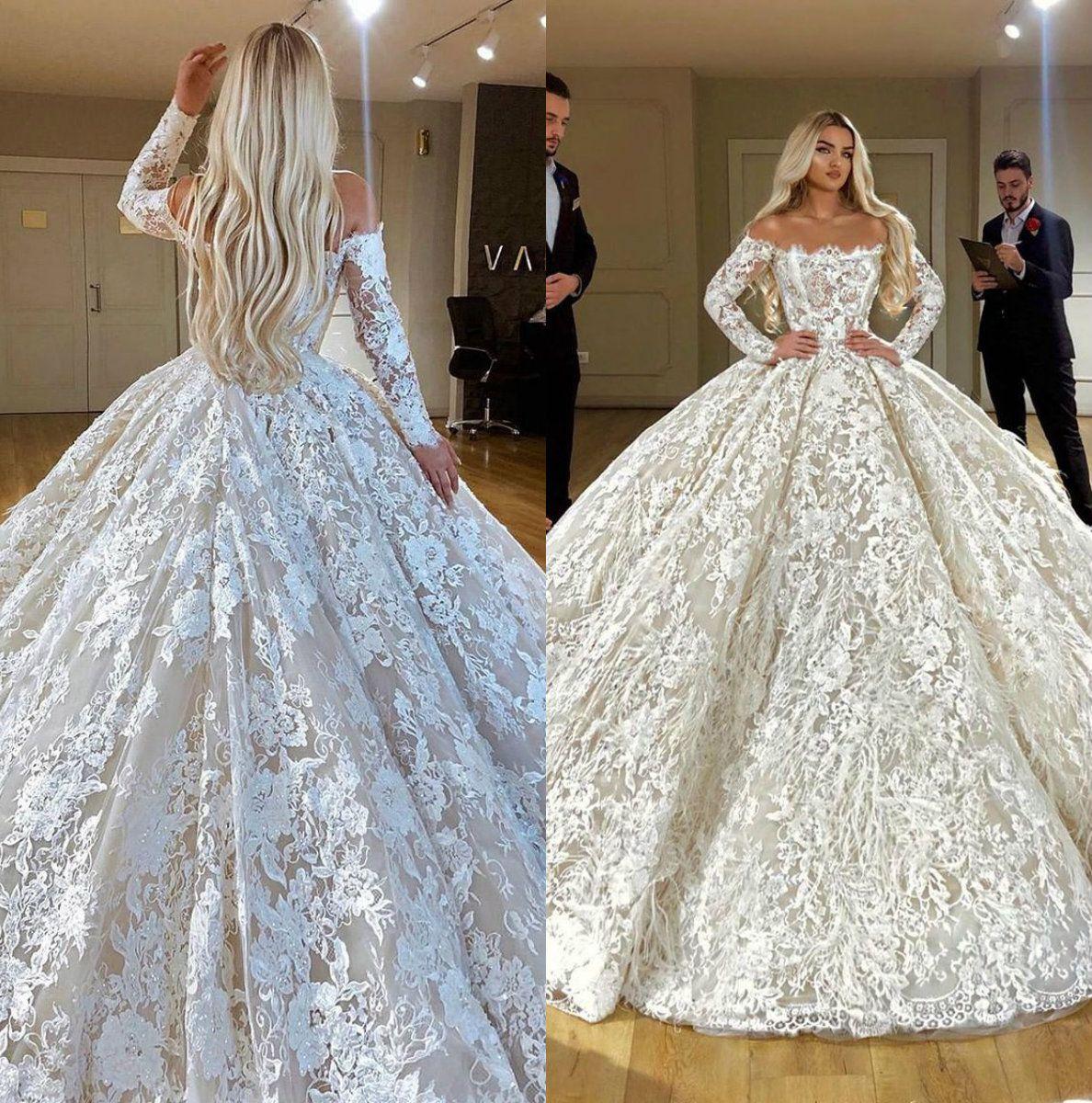 089dd54383d1 Acquista Abiti Da Sposa Di Lusso Ball Gown Abito Da Sposa Con Piume Abiti  Da Sposa Manica Lunga Backless Plus Size Dubai Arab Wedding Dress Custom A   522.27 ...