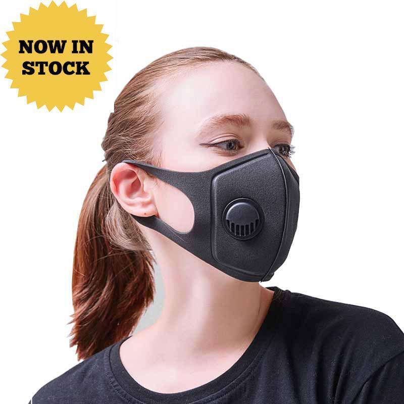 أقنعة واقية الإسفنج قابلة لإعادة الاستخدام PM2.5 الوجه فم أسود مع فلاتر القيمة مصمم على نطاق واسع الأشرطة Mascherine قابل للغسل التنفس أقنعة Fy0002