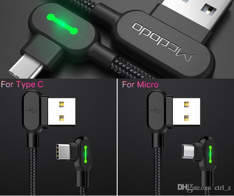Cable USB Micro MCDODO Por tipo C Cable de 90 grados de carga rápida por cable cargador de teléfono móvil cable de juego adaptador USB