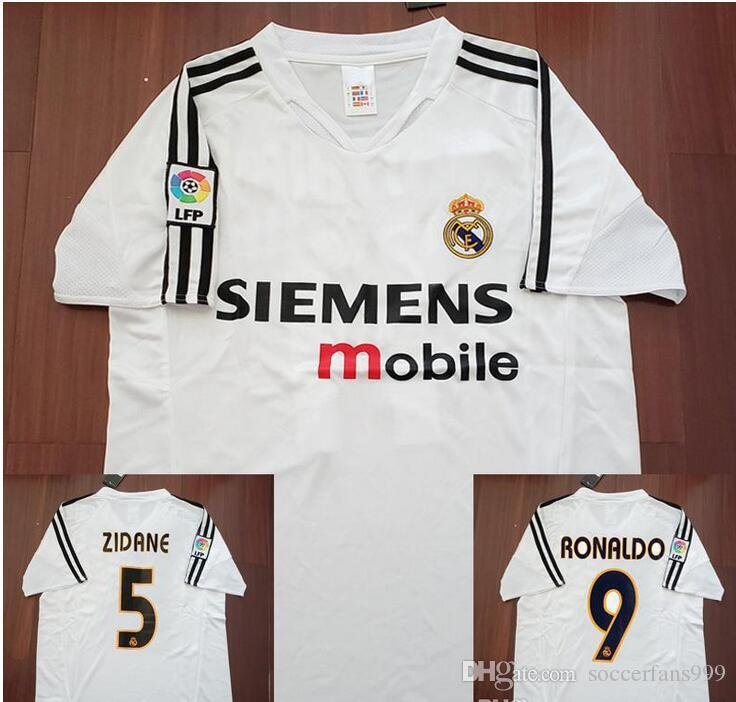 c2cf8968b 2019 04 05 Real Madrid Home Soccer Jersey R.Carlos Zidane Raul Ronaldo Figo  Owen Guti Beckham 2004 2005 Real Madrid Footbal Shirts Soccer Kits From ...
