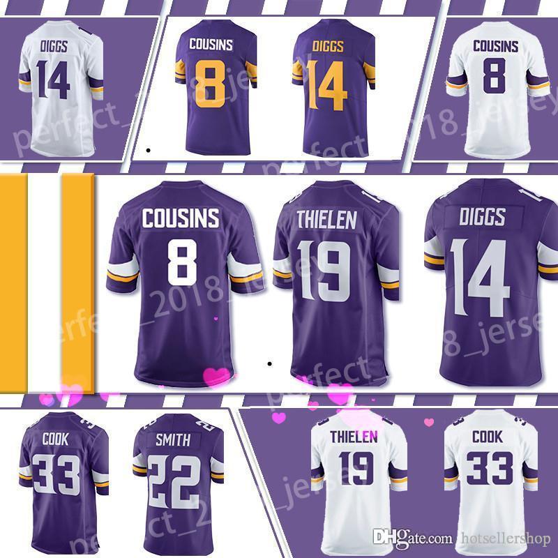 sale retailer 714d3 c5379 Minnesota Vikings Jersey 8 Kirk Cousins football jerseys 84 Randy Moss 19  Adam Thielen 14 Stefon Diggs 33 Dalvin Cook 55Barr top sale