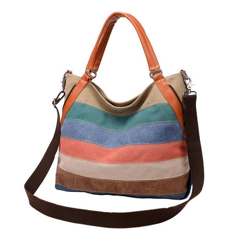 Womens Vintage Striped Canvas Crossbody Bags Tote Handbags Shoulder Satchel Bag