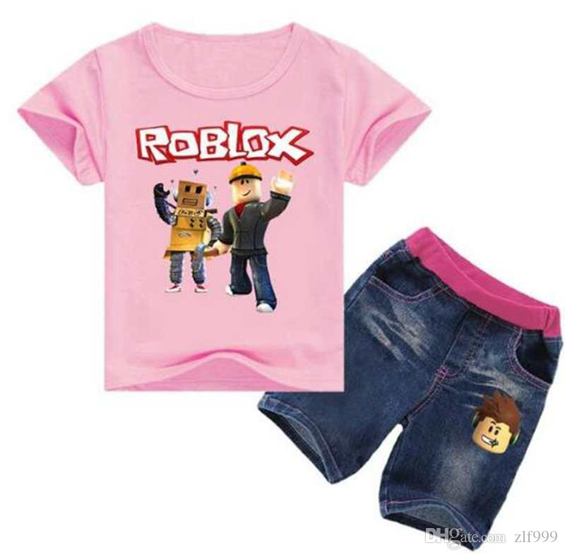 Roblox Game Print T-shirt Tops Denim Shorts Fashion New Teenagers Kids  Outfits Girl Clothing Set Jeans 2PCS Children Clothes