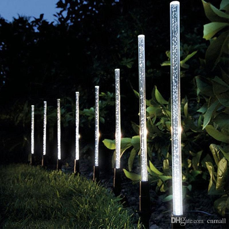 Solar Power Tube Lights Lamps Acrylic Bubble Pathway Lawn Landscape Lighting Decoration Garden Stick Stake Light Lamp Set