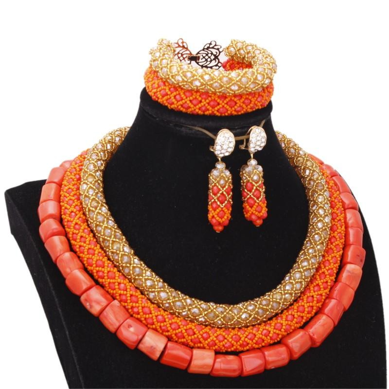 4ujewelry Nature Coral+Crystal Jewellery Set Gold Orange Necklace+Bracelet+Earrings Women Bridal Jewelry Set For African Nigeria