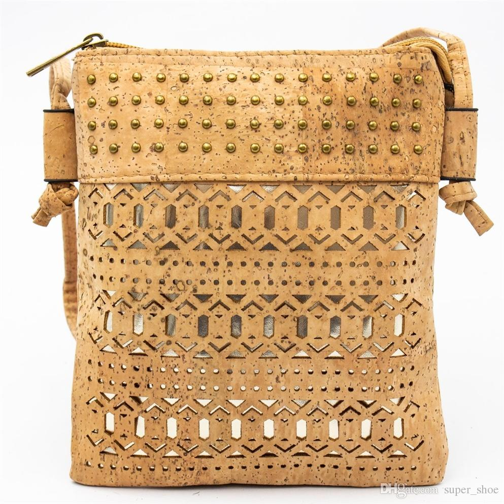 54d73eaaa106 From Portugal natural cork Crossbody cork bag Rivets and cutting message  bags BAG-375 #164845