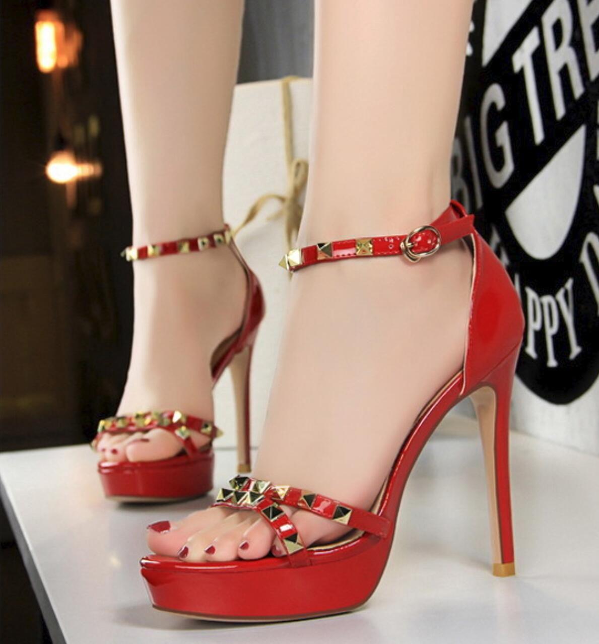 9abff0316 Women Patent Leather High Heels Rivet Platform Pumps Open Toe Sexy Sandals  Buckle Strap Stilettos Party Wedding Club Shoes XW72 Platform Shoes Prom  Shoes ...