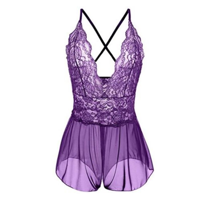 Сексуальная Babydoll кружева пижамы женщины видят сквозь открытую промежность нижнее белье сросшиеся рубашки Onesies пижамы для женщин camisones