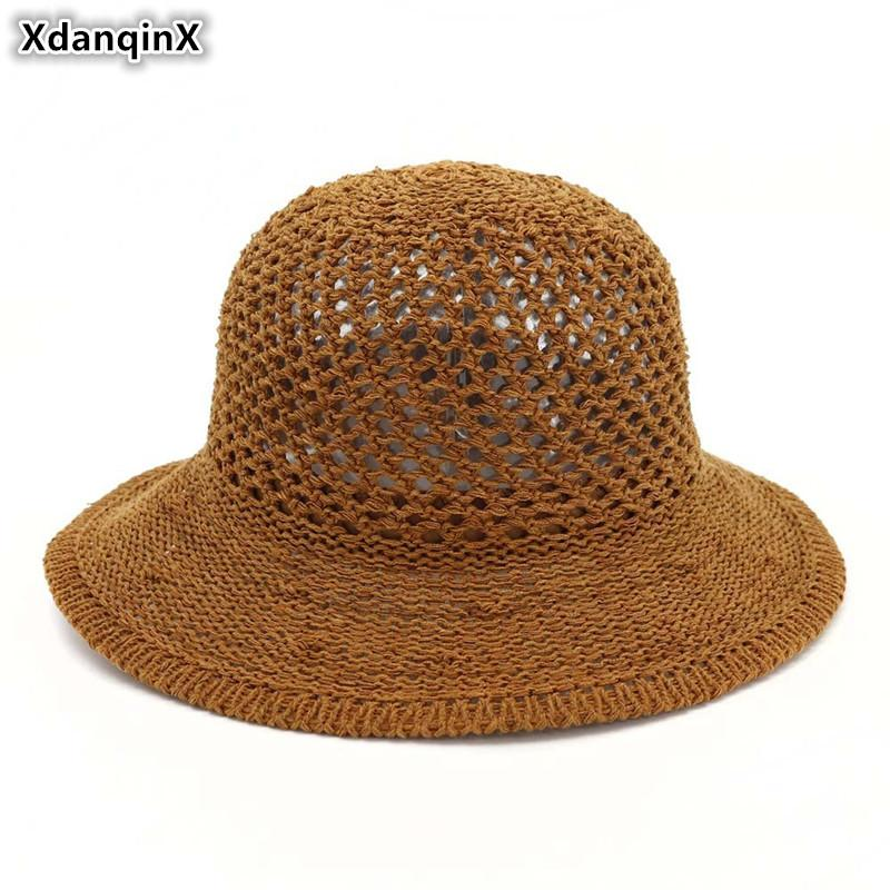 SILOQIN Foldable Ladies Sun Hats Eyelet Breathable Dome Sunscreen Beach Hat For Women 2019 New Summer Adult Women's Straw Hat