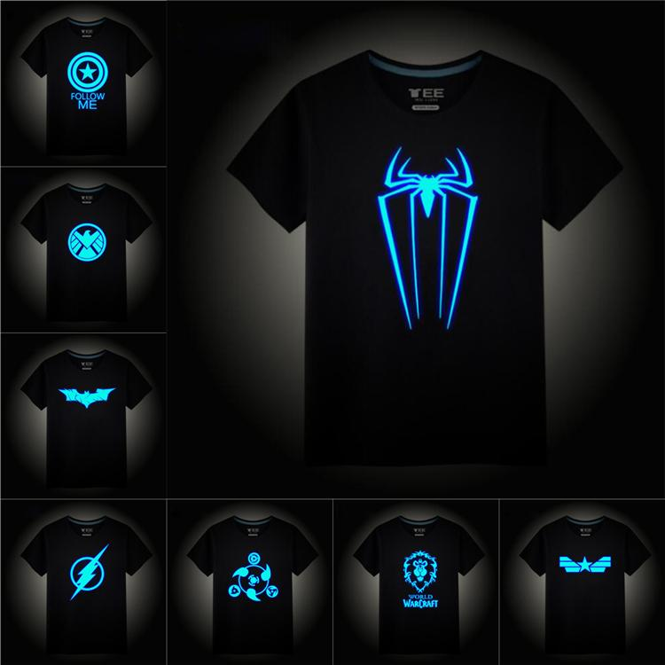 glow in the night superhero logo Printed Kids T-shirts Tees 25 designs 2-12t kids Boys Cotton T shirt kids designer clothes SS309