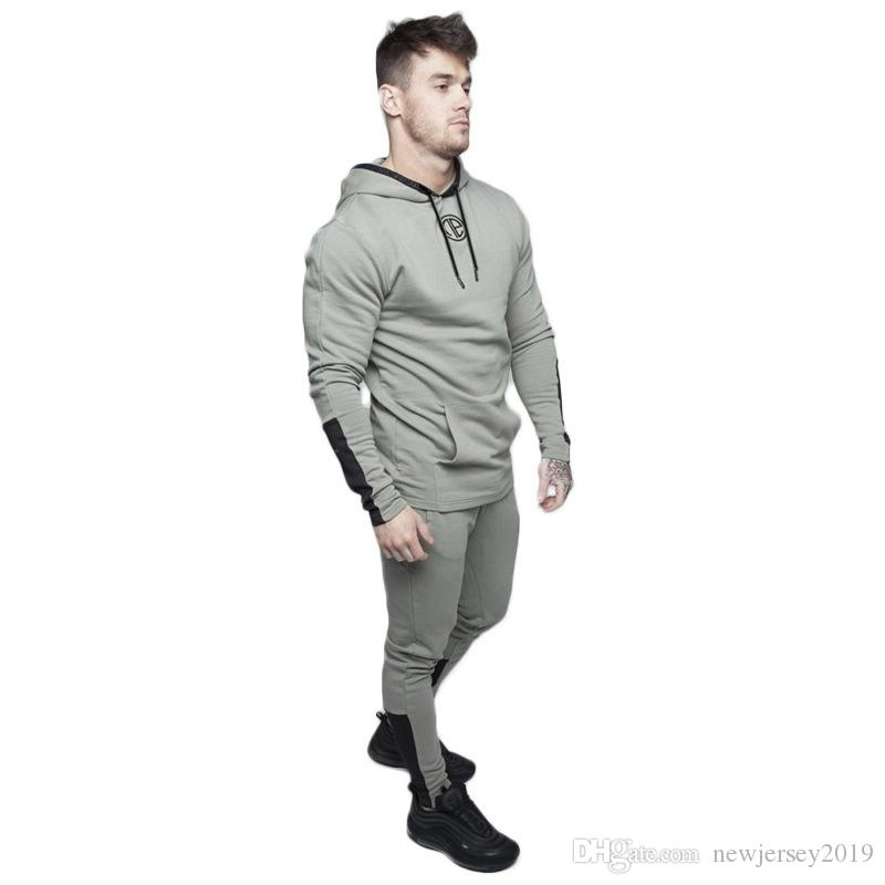 2019 Sportswear Men Sets Running Gym Tracksuit Fitness Body building Mens Hoodies+Pants Jogger Sport Suit Men Clothing Set #191144